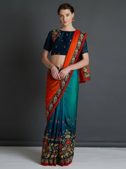 Orange & Blue Poly Georgette Embroidered Saree