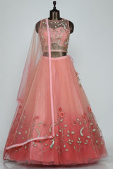 Salmon Pink Pearl Embroidered Net Lehenga