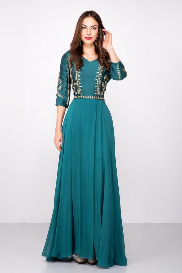 Teal Green Embroidered Anarkali Dress