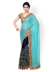 Teal & Blue Georgette Embellished Saree
