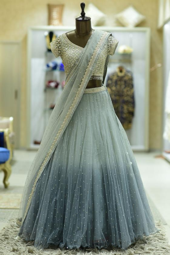 Mint Green Bead Embroidered Net Bridesmaids Lehenga