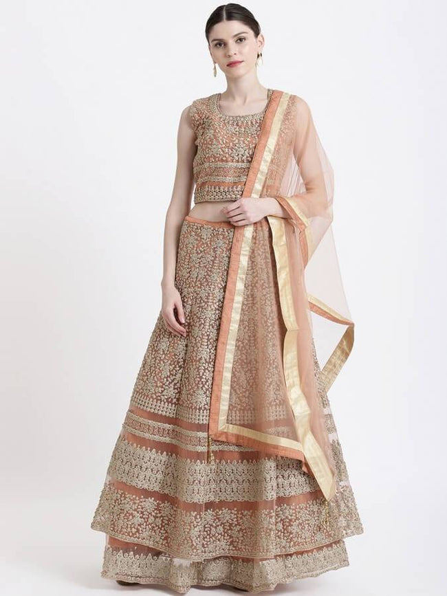 Peach-Coloured Ready to Wear Lehenga & Blouse with Dupatta