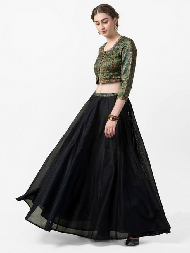 Black & Green Solid Ready to Wear Lehenga with Blouse