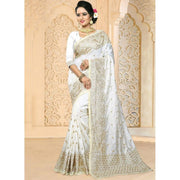 White Art Silk Traditional Designer Saree