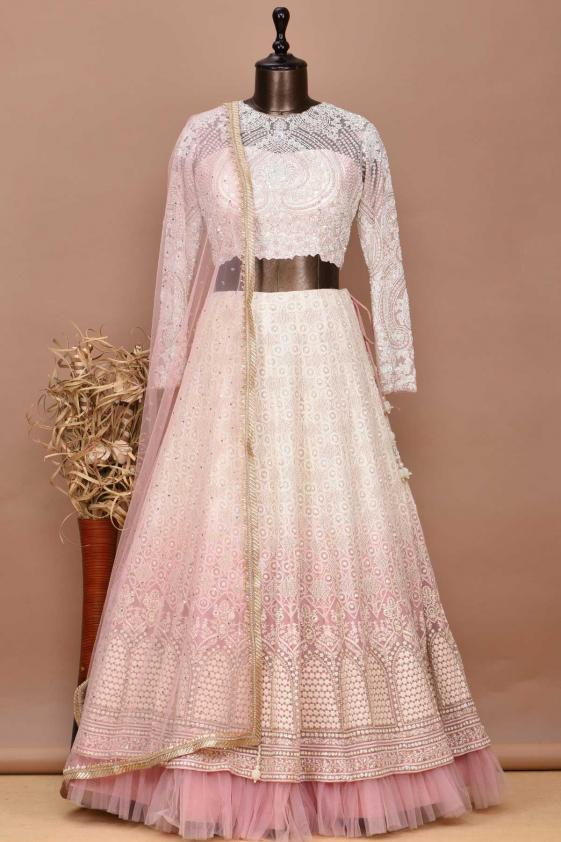 Blush Pink Stone Embroidered Net Bridesmaid Lehenga