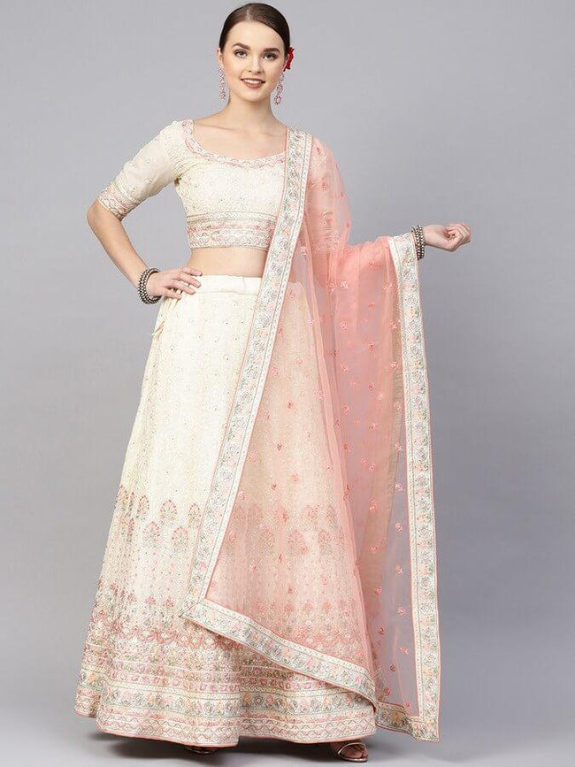 Cream-Coloured & Pink Embroidered Semi-Stitched Lehenga & Unstitched Blouse with Dupatta