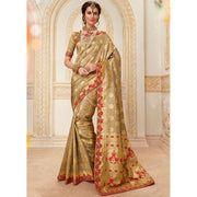 Embroidered Work Beige Designer Traditional Saree