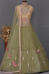 Buff Yellow & Green Sequins Embroidered Net Bridesmaids Lehenga