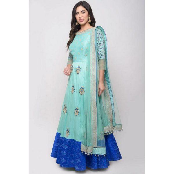 Mint Blue Raw Silk embroidered Dresses
