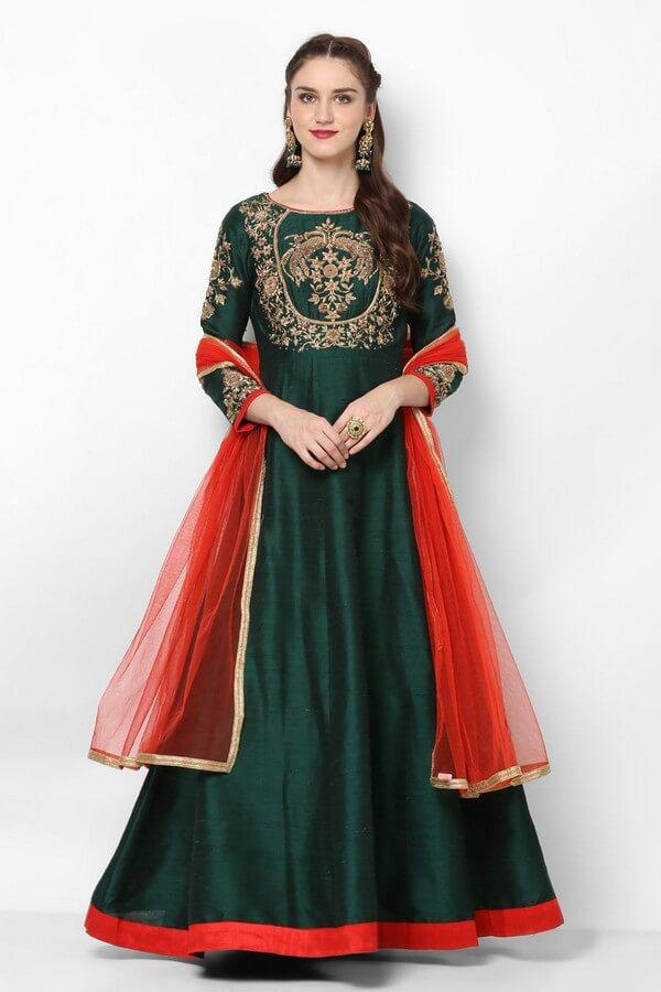 Alluring emerald green anarkali Dress