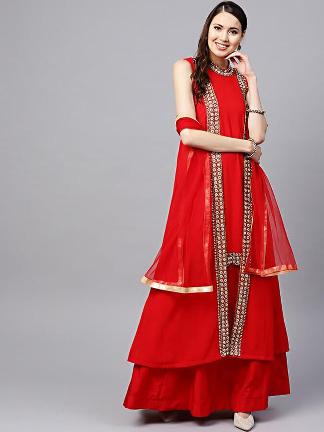 Women Red Solid Made to Measure Lehenga with Jacket Style Choli & Dupatta