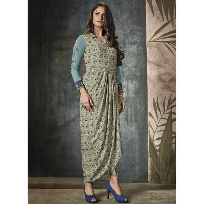 Gorgonize Rayon Print Blue Party Wear Kurti