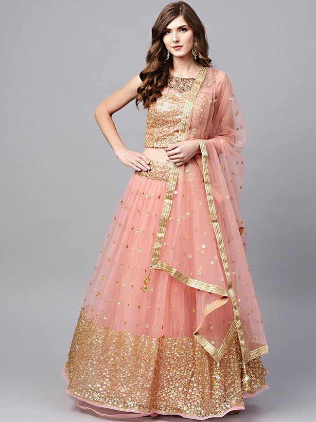 Pink & Golden Sequinned Made to Measure Lehenga & Choli with Dupatta