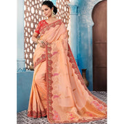 Banglori Silk Peach Embroidered Trendy Saree