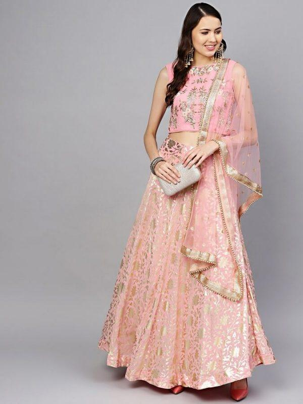Women Pink & Golden Made to Measure Foil Print Lehenga & Choli with Dupatta