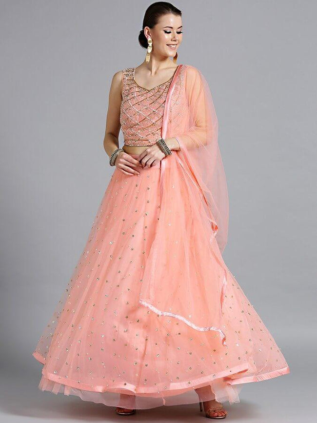 Women Pink Embellished Made To Measure Lehenga With Blouse & Dupatta