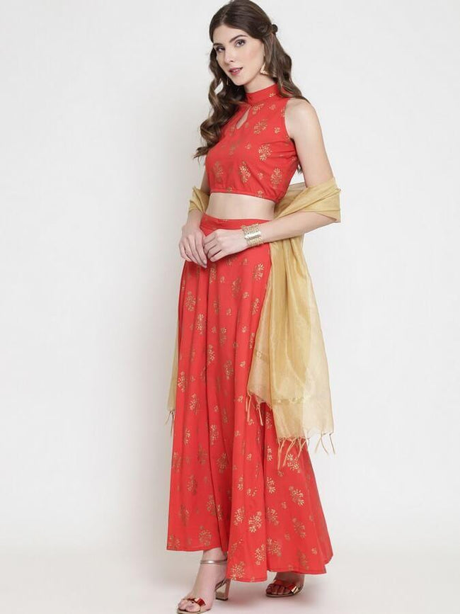 Red Ready to Wear Lehenga with Blouse