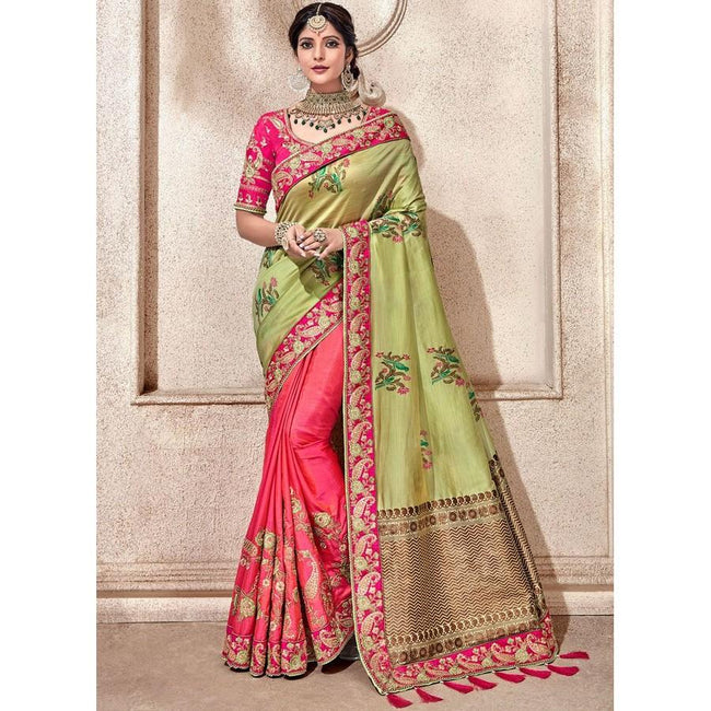 Green And Rose Pink Fancy Fabric Zari Half N Half Saree