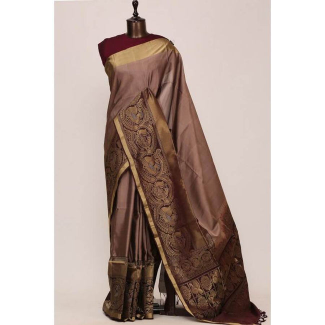 Rosequartz Brown Zari Woven Silk Saree