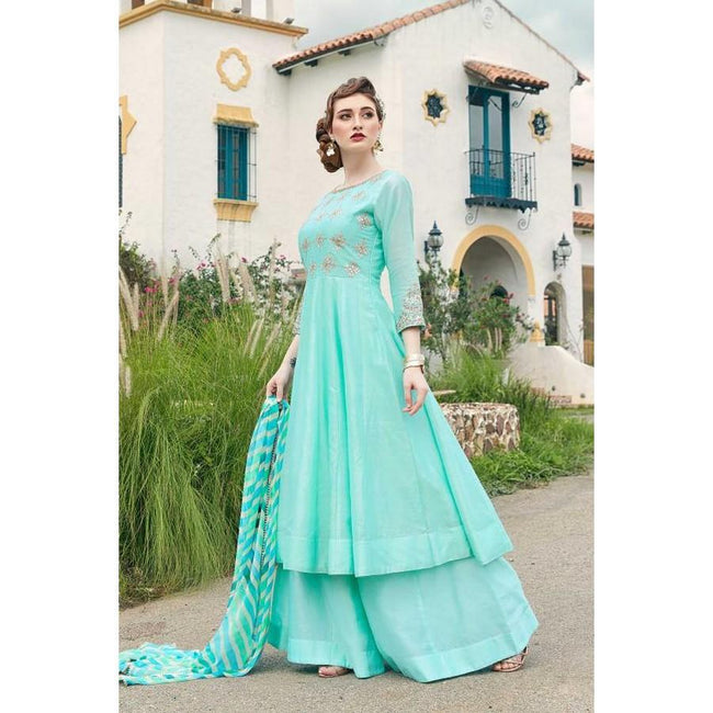 Turquoise Blue Silk Dresses