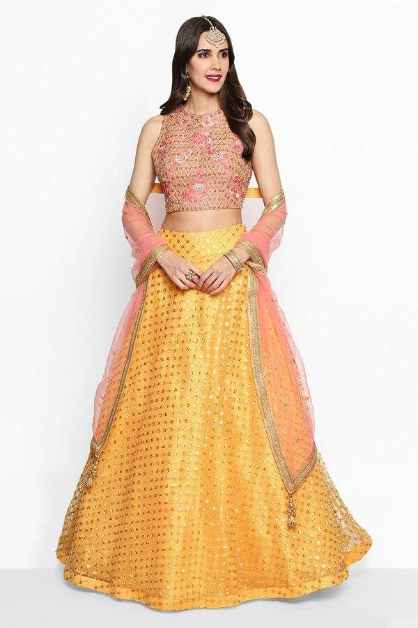 Coral Pink & Yellow Heavy Embroidered Lehenga Choli With Dupatta