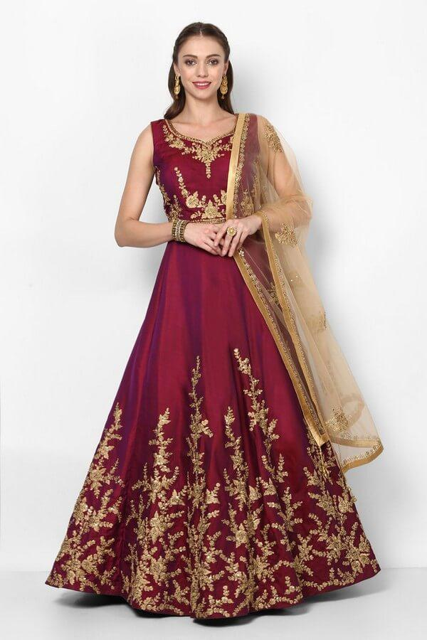 Plum Purple Embroidered Lehenga Choli With Dupatta