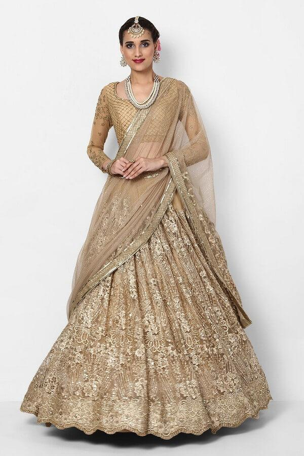 Gold Heavy Embroidered Lehenga Choli With Dupatta
