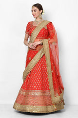 Red Heavy Embroidered Bridal Lehenga Choli With Dupatta