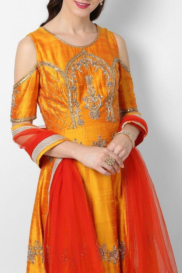 Goldenrod Yellow Embroidered Anarkali Dress