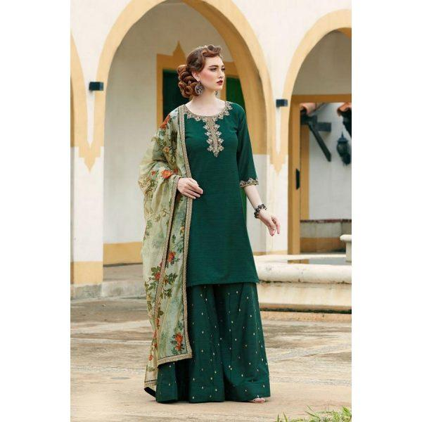 Bottle Green Raw Silk Dresses