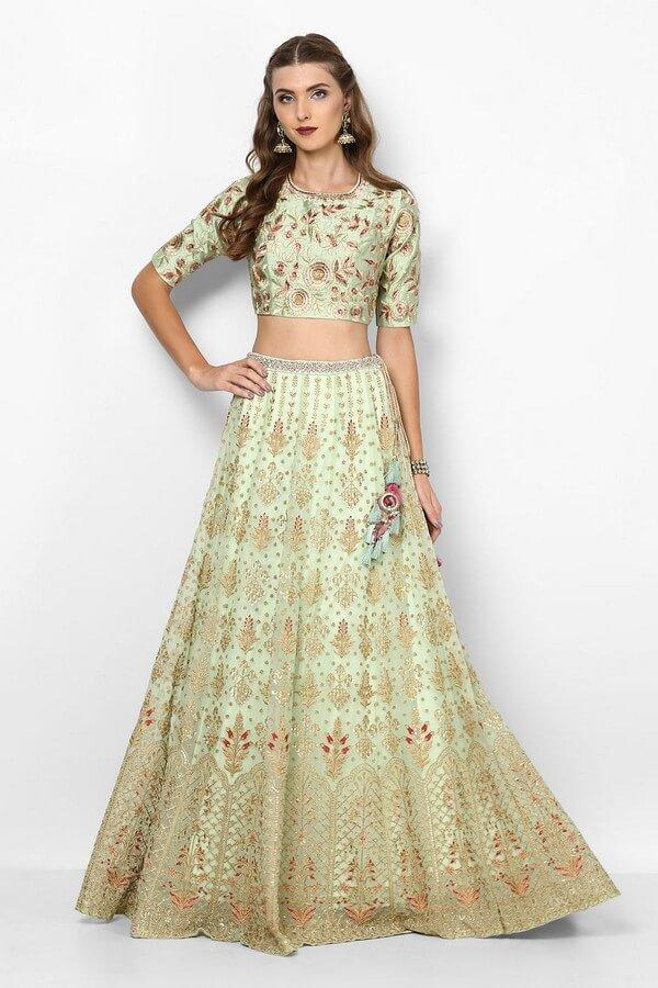 Pastel Green Embroidered Lehenga Choli With Dupatta
