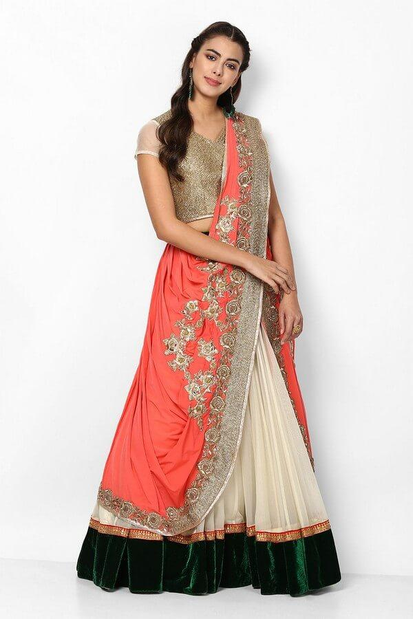 Gold & Ivory Embroidered Lehenga Choli With Attached Dupatta