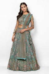 Slate Blue Floral Embroidered Lehenga Choli With Dupatta