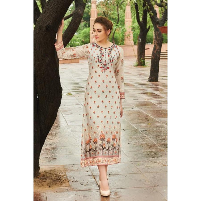 Off-White Printed Cotton Designer kurti