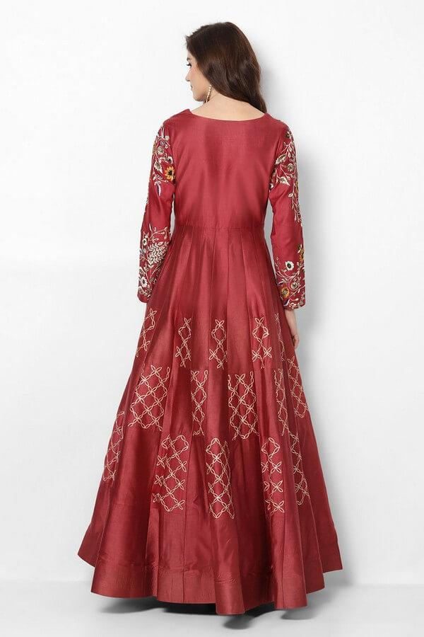 Maroon Embroidered Anarkali Dress