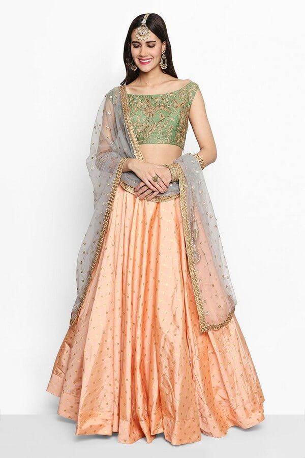 Green & Peach Embroidered Lehenga Choli With Dupatta