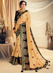 Cream Zari Woven Art Silk Saree