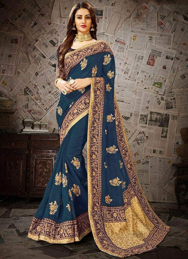 Dark Teal Embroidered Saree