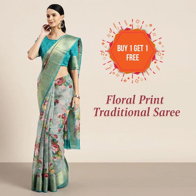 Buy 1 Get 1 Floral Print Traditional Saree