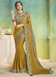 Green Faux Chiffon Saree