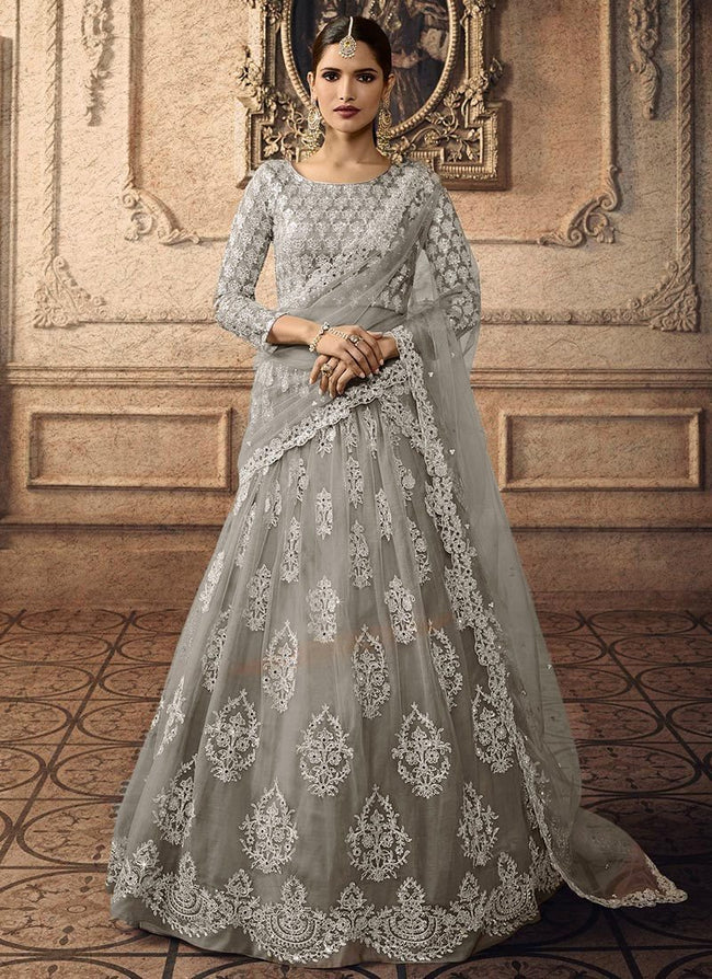 Grey Net Embroidered A Line Lehenga