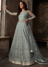 Grey Net Long Choli A Line Lehenga