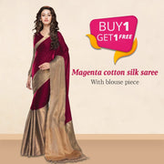 Buy 1 Get 1 Saree (Women`s cotton silk saree )