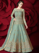 Mint Green Embroidered A Line Lehenga