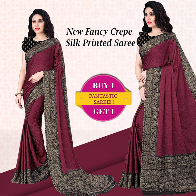 Buy 1 Get 1 New Fancy Crepe Silk Printed Saree