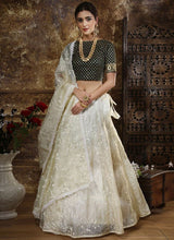 Off White Embroidered A Line Lehenga