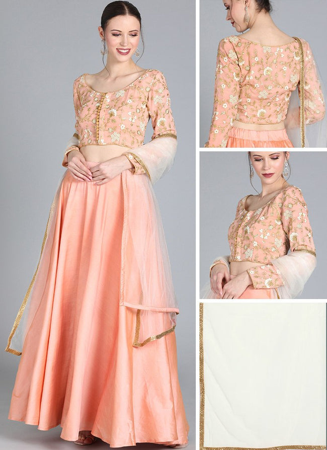 Peach Embroidered Boat Neck Style Lehenga Set