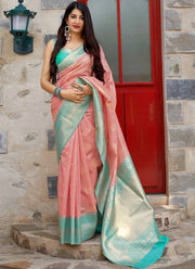 Pink Banarasi Art Silk Saree