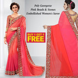Buy 1 Get 1 Poly Georgette Pink Beads & Stones Embellished Women's Saree