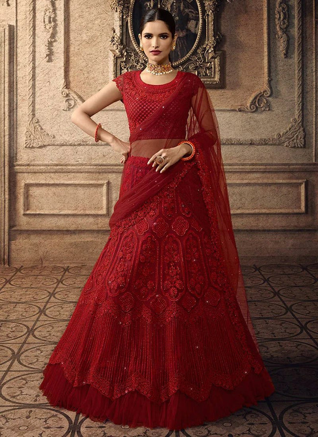 Red Net Embroidered A Line Lehenga